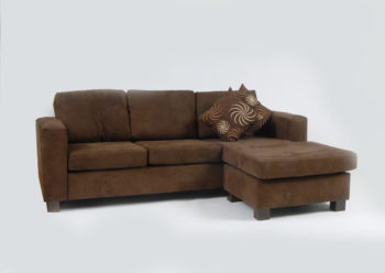 Chocolate 3 seat chaise lounge with cushions