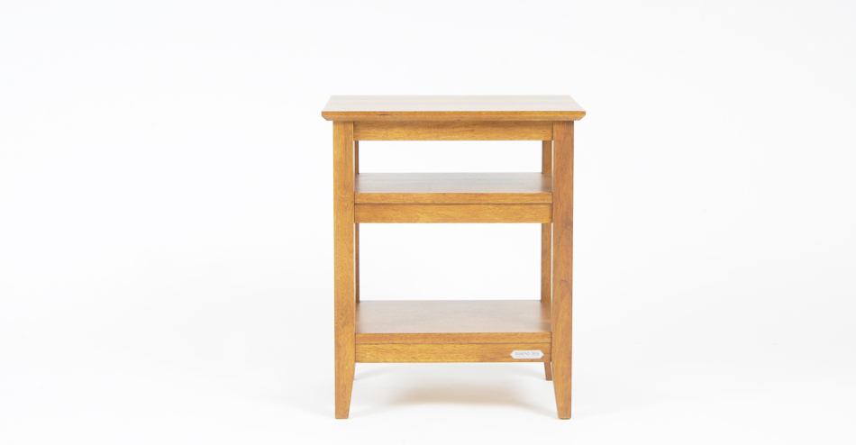 solid timber bed side table oak colour
