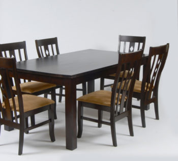 Timber dining table and chairs