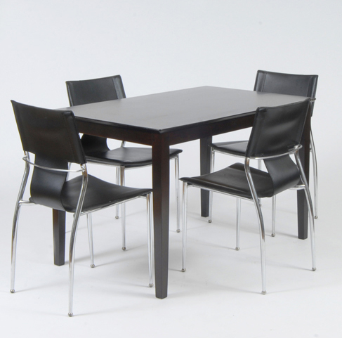 Timber dining table and 4 leather and chrome chairs