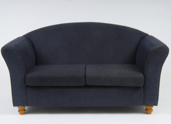 blue 2 seat sofa with little gold stars