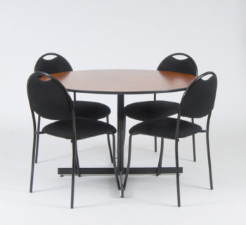 round dining table and 4 black chairs