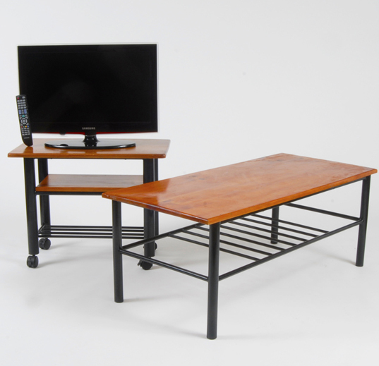 timber top coffee table and tv stand with a 66 cm tv