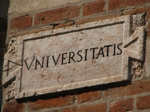 university sign on a brick wall